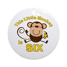 Little Monkey 6th Birthday Boy Ornament (Round)