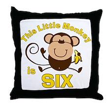 Little Monkey 6th Birthday Boy Throw Pillow