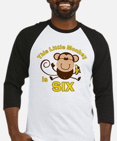 Little Monkey 6th Birthday Boy Baseball Jersey