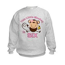 Little Monkey 6th Birthday Girl Sweatshirt