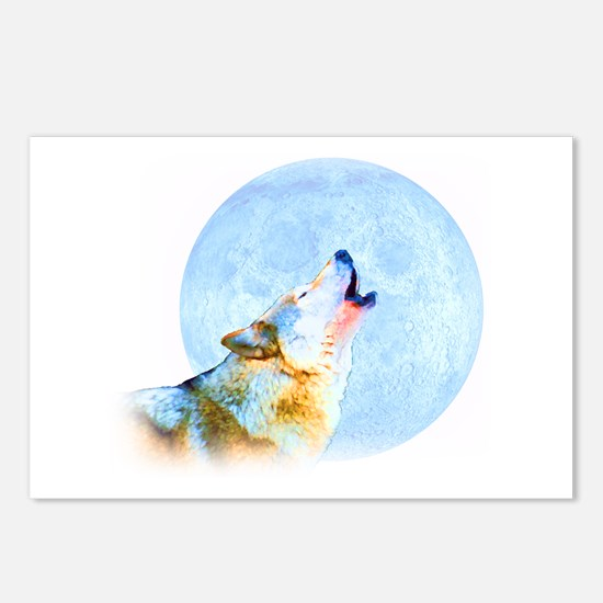 Howling Moon - Wolf Art Postcards (Package of 8)