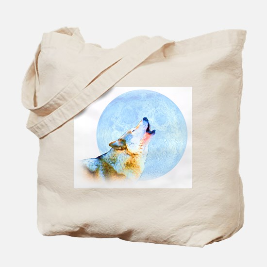Howling Moon - Wolf Art Tote Bag