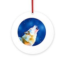 Midnight Howl - Wolf Art Ornament (Round)