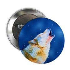 "Midnight Howl - Wolf Art 2.25"" Button"