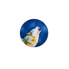Midnight Howl - Wolf Art Mini Button (10 pack)