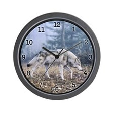 Grey Wolf - On the Prowl Wall Clock