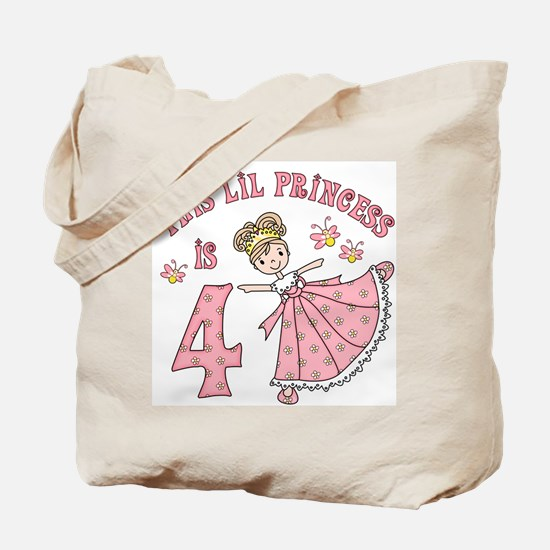 Pretty Princess 4th Birthday Tote Bag