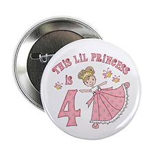 "Pretty Princess 4th Birthday 2.25"" Button (10 pack"
