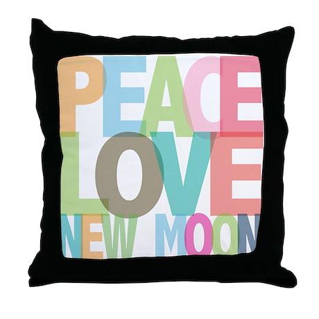 Peace Love New Moon Throw Pillow
