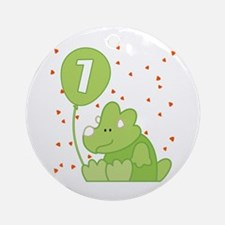 Baby Dino First Birthday Ornament (Round)