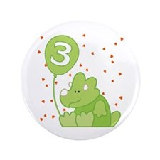 """Baby Dino 3rd Birthday 3.5"""" Button (100 pack)"""