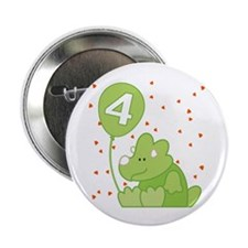 "Baby Dino 4th Birthday 2.25"" Button"