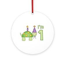 Little Turtle First Birthday Ornament (Round)