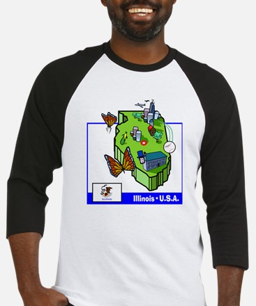 Illinois Map Baseball Jersey