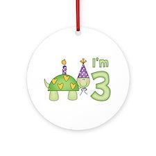 Little Turtle 3rd Birthday Ornament (Round)