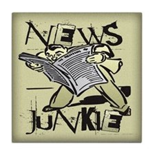 News Junkie Tile Coaster