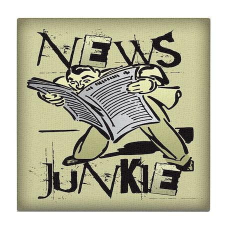 News Junkie Tile Coaster