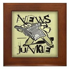 News Junkie Framed Tile