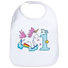 Rainbow Unicorn First Birthday Bib