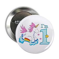 "Rainbow Unicorn First Birthday 2.25"" Button"