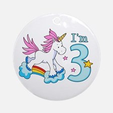 Rainbow Unicorn 3rd Birthday Ornament (Round)
