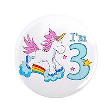 "Rainbow Unicorn 3rd Birthday 3.5"" Button"