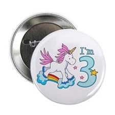 "Rainbow Unicorn 3rd Birthday 2.25"" Button"