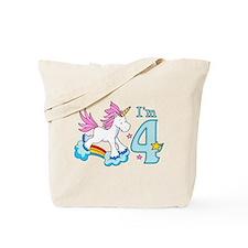 Rainbow Unicorn 4th Birthday Tote Bag