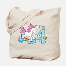 Rainbow Unicorn 4th Birthday Tote Bag