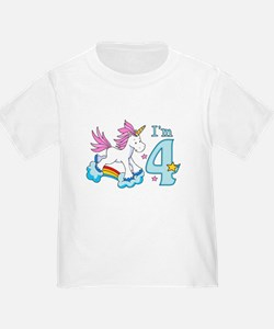 Rainbow Unicorn 4th Birthday T