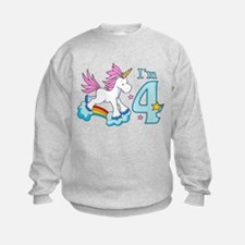 Rainbow Unicorn 4th Birthday Sweatshirt