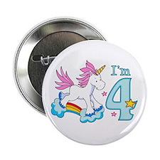 "Rainbow Unicorn 4th Birthday 2.25"" Button"