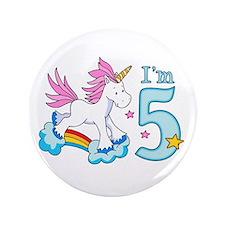 "Rainbow Unicorn 5th Birthday 3.5"" Button"