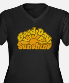 Good Day Sunshine Women's Plus Size V-Neck Dark T-