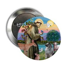 """St Francis / Keeshond (#2) 2.25"""" Button"""