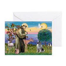 St Francis / Keeshond (#2) Greeting Cards (Pk of 1