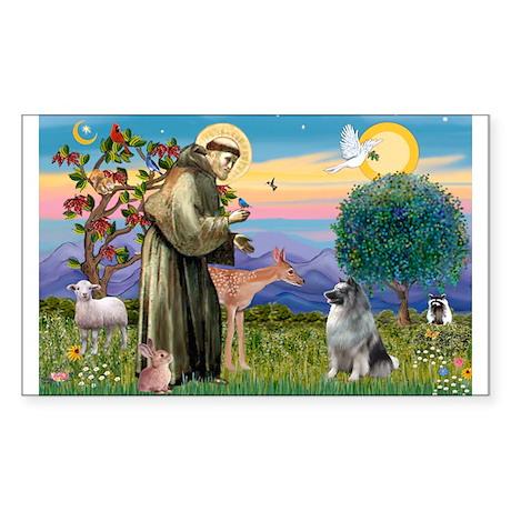 St Francis / Keeshond (#2) Rectangle Sticker