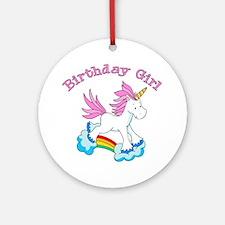 Rainbow Unicorn Birthday Girl Ornament (Round)