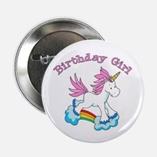 "Rainbow Unicorn Birthday Girl 2.25"" Button"