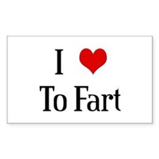 I Heart To Fart Rectangle Decal