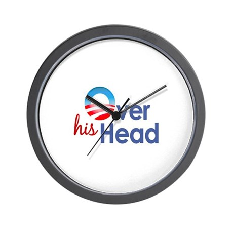 Obama Over His Head Wall Clock