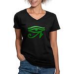 Green Eye Women's V-Neck Dark T-Shirt