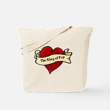 King of Pop Heart Tattoo Tote Bag
