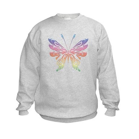 Butterfly Tat Rainbow (05) Kids Sweatshirt
