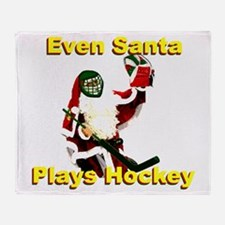 Even Santa Plays Hockey Throw Blanket