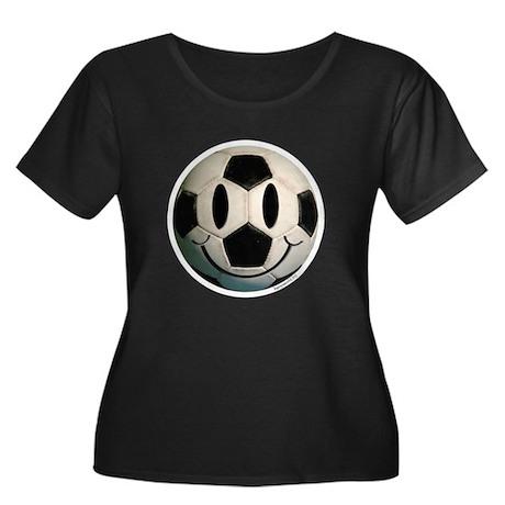 Soccer Smiley Women's Plus Size Scoop Neck Dark T-