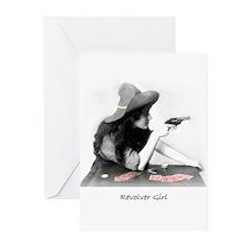 Revolver Girl Greeting Cards (Pk of 10)