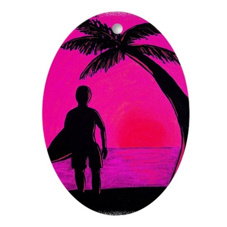 Sunset Surf Oval Ornament