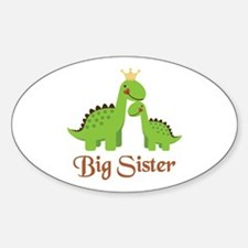 Big Sister Dino Oval Decal