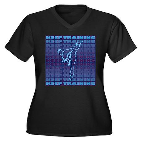 Keep Training Women's Plus Size V-Neck Dark T-Shir